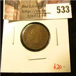 1886 type 1 Indian Head Cent, F, value $20