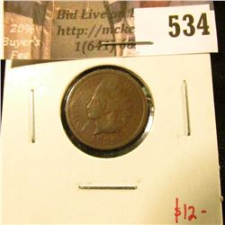 1886 type 2 Indian Head Cent, VG, value $12