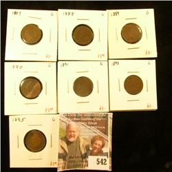 Group of 7 different Indian Head Cents – 1887, 1888, 1889, 1890, 1891, 1892, 1895, all G, group valu