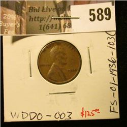 1936 Lincoln Cent, DOUBLE DIE OBVERSE. SCARCE. FS-01-1936-103(016) / WDDO-003, VF, value $125.