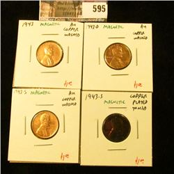 (4) Lincoln Cents, 1943PDS and an extra 1943-S (toned), all copper washed or plated and still magnet