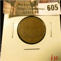 1868 2 Cent Piece, F+, value $35