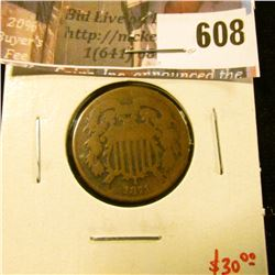 1871 2 Cent Piece, AG/G, tough date, lower mintage, value $30