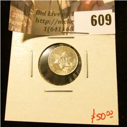 1851 3 Cent Silver, F, value $50