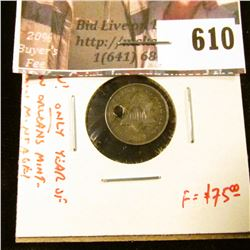 1851-O 3 Cent Silver, F holed (OW!!!), ONLY year of New Orleans Mint for type, low mintage, F value
