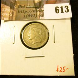 1865 3 Cent Nickel, F, value $25