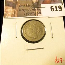 1872 3 Cent Nickel, F, value $27