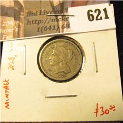 1875 3 Cent Nickel, low mintage (228,000), F, value $30