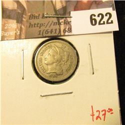 1881 3 Cent Nickel, F, value $27