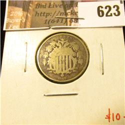 1867 No Rays Shield Nickel, G, value $10