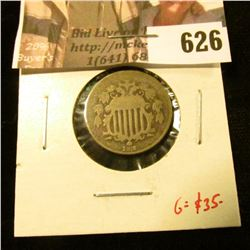 1872 Shield Nickel, AG/G, clear Date, G value $35