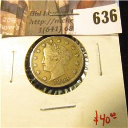 1893 V Nickel, VF, better grade for date, value $40