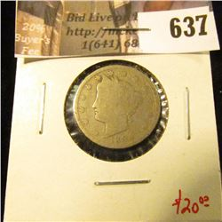 1894 V Nickel, better date, G, value $20