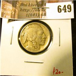 1913 Type 1 (Mound) Buffalo Nickel, VF, value $20