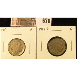 (2) Buffalo Nickels1925 F & 1925-D G, value for pair $14