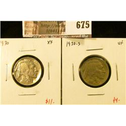 (2) Buffalo Nickels, 1930 XF, 1930-S VF, value for pair $$15
