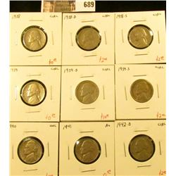 (9) Jefferson Nickels, 1938PDS, 1939PDS, 1942-D, all in circulated grades, 1940 UNC, 1941 AU, group