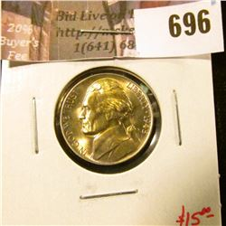1945-P Jefferson Nickel, BU toned, value $15