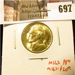 1945-D Jefferson Nickel, BU, MS63 value $8, MS65 value $20