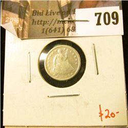 1854 Seated Liberty Half Dime, G, value $20