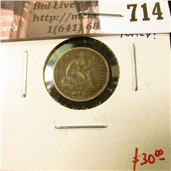 "1860 Seated Liberty Half Dime, VF toned, rotated reverse, nice, original ""crusty"" coin! value $30"
