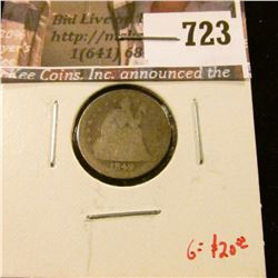 1849 Seated Liberty Dime, AG, clear date, G value $20