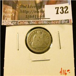 1858 Seated Liberty Dime, G, value $16
