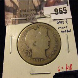 965 . 1910-S Barber Half Dollar, AG, clear date and mint mark, G va