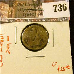 1874-S arrows Seated Liberty Dime, AG, clear date, LOW MINTAGE (240,000), G value $25
