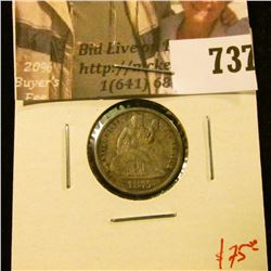 1875-CC above bow Seated Liberty Dime, F, value $75