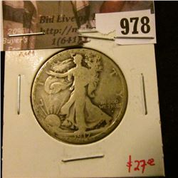 978 . 1917-S Walking Liberty Half Dollar, obverse mint mark, G, val