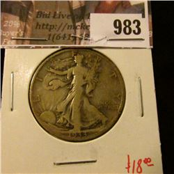 983 . 1933-S Walking Liberty Half Dollar, F, value $18
