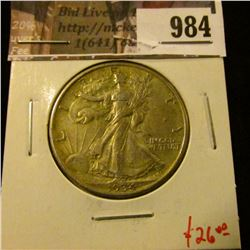984 . 1934 Walking Liberty Half Dollar, AU, value $26