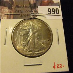 990 . 1941 Walking Liberty Half Dollar, AU58, nice example, value $