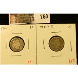 (2) Barber Dimes, 1901 G+, 1901-O VG, value for pair $9+