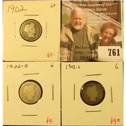 (3) Barber Dimes, 1902P, O, S, all G, group value $17
