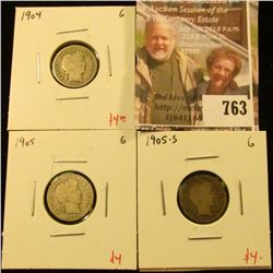 (3) Barber Dimes, 1904, 1905, 1905-S, all G, group value $12