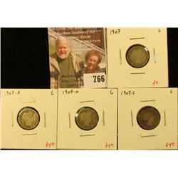 (4) Barber Dimes, 1907P, D, O, S (all 4 mintmarks for year), all G, group value $16