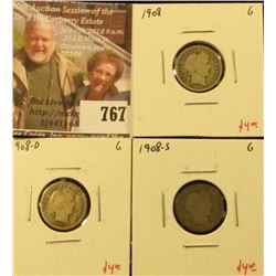 (3) Barber Dimes, 1908 P, D, S, all G, group value $12