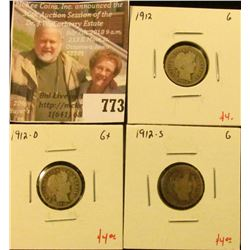 (3) Barber Dimes, 1912PDS, all G, group value $12