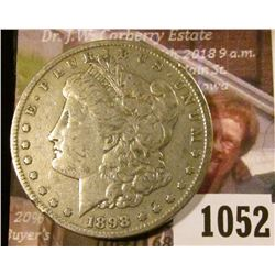 1052 . 1898-S Morgan Silver Dollar, VF/XF, VF value $40, XF value $