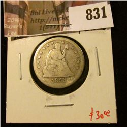 1853 Seated Liberty Quarter, arrows removed, arrows reverse, VG details, VG value $30