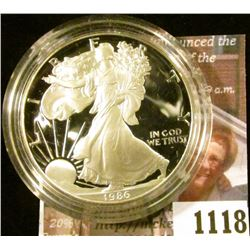 1118 . 1986 American Silver Eagle, Proof in Mint capsule, value $60