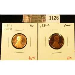 1126 . (2) Proof Lincoln Memorial Cents, 1979-S type 2 (scarcer typ