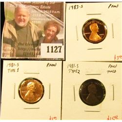 1127 . (3) Proof Lincoln Memorial Cents, 1981-S type 1 & type 2 (to