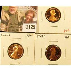 1129 . (3) Proof Lincoln Memorial Cents, 2004-S, 2006-S & 2008-S, g