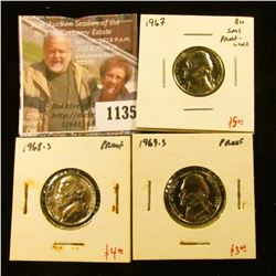 1135 . (3) Proof & SMS Jefferson Nickels, 1967 SMS proof-like & 196