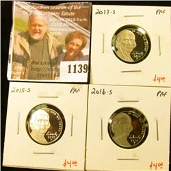 1139 . (3) Proof Jefferson Nickels, 2013-S, 2015-S, 2016-S, group v