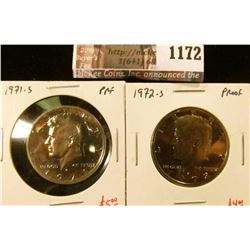 1172 . (2) Proof Kennedy Half Dollars, 1971-S & 1972-S, value for p