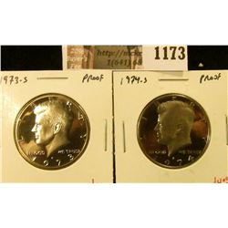 1173 . (2) Proof Kennedy Half Dollars, 1973-S & 1974-S, value for p